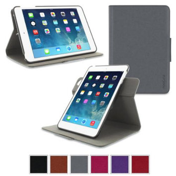 Apple iPad Mini 3 (2014) Case - roocase Orb System Folio 360 Dual View Leather Case Smart Cover with Sleep / Wake Feature for Apple iPad Mini 1 2 3 (2014) Gray - Patented Complete Lifestyle Solution