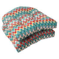 Pillow Perfect Outdoor 2-Piece Wicker Seat Cushion Set - Red/Turquoise Chevron