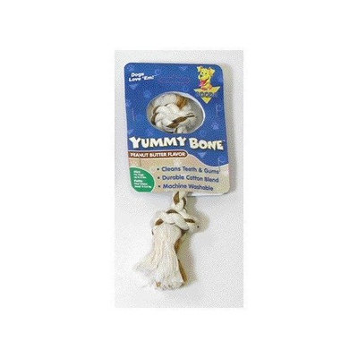 Aspen Pet Products Aspen Pet X-Small 2 Knot Yummy Rope Bone, Peanut Butter Flavored