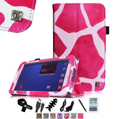 Fintie Folio Classic Leather Case for Samsung Galaxy Tab 3 7.0 inch Tablet, Giraffe Magenta
