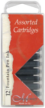 Manuscript Pen MC0461AS Manuscript Calligraphy Cartridge 12-Pkg-Black Blue Sepia