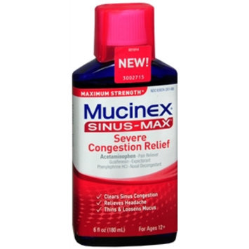 Mucinex Sinus-Max Adult Maximum Strength Severe Congestion Relief Liquid, 6 fl oz