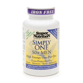 Super Nutrition Simply One 50+ Men High Energy One-Per-Day Vegetarian Iron Free Tablets