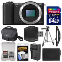 Sony Alpha A5100 Wi-Fi Digital Camera Body (Black) with 64GB Card + Case + Battery & Charger + Tripod + Strap + Kit