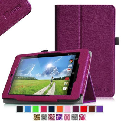 Fintie Folio Premium Vegan Leather Case Cover With Stylus Holder for Acer Iconia One 7 B1-730HD Tablet, Purple