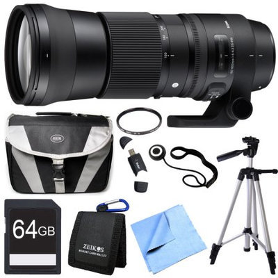 Sigma 150-600mm F5-6.3 DG OS HSM Zoom Lens (Contemporary) for Nikon DSLR Camera Bundle
