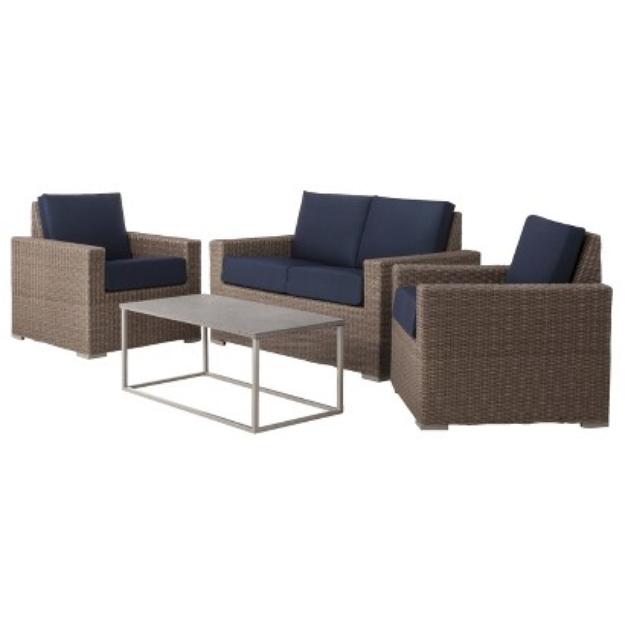 Outdoor Patio Furniture Set: Threshold 4 Piece Navy Blue Wicker,