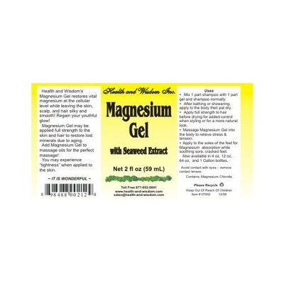 Health And Wisdom MAGNESIUM GEL with Seaweed Extract 2 OZ