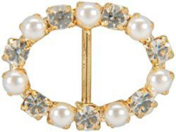 Vision Trims Genuine Rhinestone Buckle 35mm Oval-Gold/Pearl