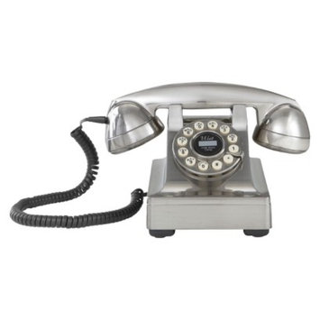 Crosley Radio Kettle Desk Phone-Brushed Chrome