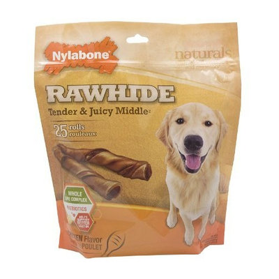 Nylabone Rawhide Chicken Flavored Tender Middle Roll Dog Treat Bone