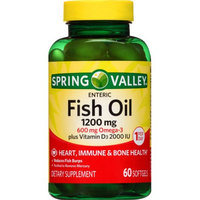 Spring Valley Fish Oil Dietary Supplement 1200mg Softgel, 60 ct