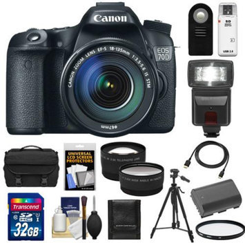 Canon EOS 70D Digital SLR Camera & EF-S 18-135mm IS STM Lens with 32GB Card + Battery + Case + Tripod + Filter + Flash + Tele/Wide Lenses + Kit