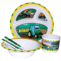 R D Enterprises/Motorhead Products John Deere-Johnny Tractor and Friends 5-Piece Children's Melamine Tableware Set