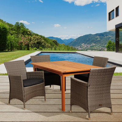 Byron 5 Piece Eucalyptus/Synthetic Wicker Rectangular Patio Dining Set with Grey Cushions