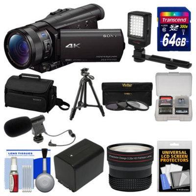Sony Handycam FDR-AX100 Wi-Fi 4K HD Video Camera Camcorder with 64GB Card + Case + LED Light + Battery + Mic + Tripod + Fisheye Lens + Kit