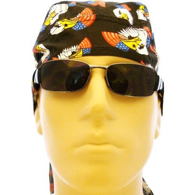 PCC Eagle Bikers Cap/ Skull Cap/ Headwrap, Bald Eagle Medical Cap, Animal Print, Eagle Bandana, Patriotic, American Flag with Bald Eagle Design, Black, Red, White, Blue and Yellow, Patriotic, Breathable 100% Cotton, One Size to Fit Men, Women and Teens, America, USA, Suitable for Hair Loss, Military, Workouts, Medical, Healthcare, Bikers, Truckers, Athletes and Food Workers to Keep Hair Out of Face and Retain Sweat
