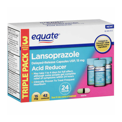 Equate Lansoprazole Acid Reducer Capsules Triple Pack