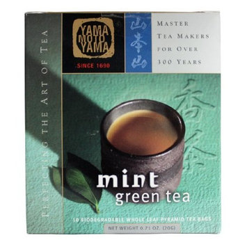 Yamamotoyama Mint Green Tea Pyramid Bag, 0.71-Ounce Boxes (Pack of 3)