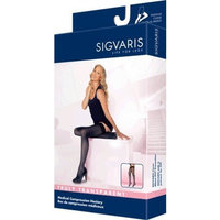 Sigvaris Truly Transparent Thigh High With Grip Top 30-40mmHg Closed Toe Long Length, Small Long, Black Mist