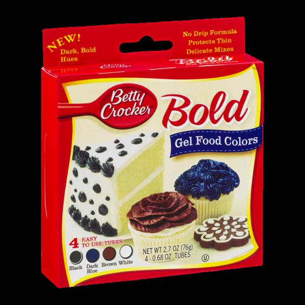 Betty Crocker Gel Food Colors Bold Black, Dark Blue, Brown, White ...