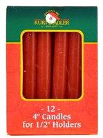 Kurt Adler Red 0.5-Inch Diameter Dripless Christmas Candles, Set of 12