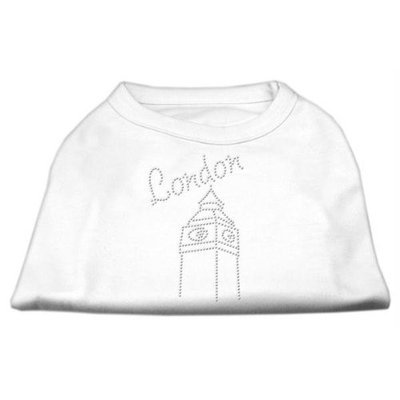 Mirage Pet Products 5243 XLWT London Rhinestone Shirts White XL 16