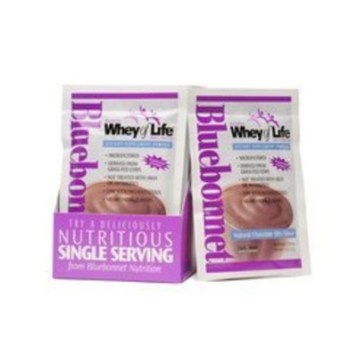 Whey of Life Protein Powder Natural Chocolate Flavor Bluebonnet 8 Packet