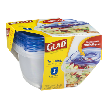 Glad Containers Tall Entree Containers & Lids - 3 CT