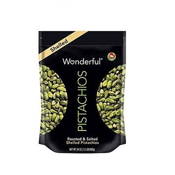Wonderful SHELLED PISTACHIOS Roasted & Salted Pistacios 24 OZ