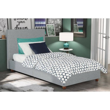 Dorel Home Products DHP Alexander Light Grey Upholstered Twin Bed