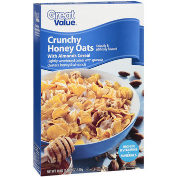 Great Value Crunchy Honey Oats Cereal With Almonds, 18 oz