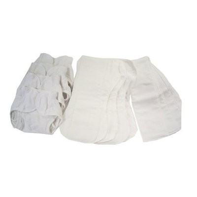 Dappi Comfy Fit Cloth Diaper Bundle, White, Medium