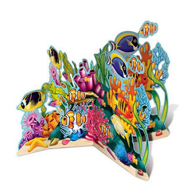 Party Central Pack of 6 Multicolor Coral Reef Sea Life 3-D Stand-Up Centerpiece Decoration 26