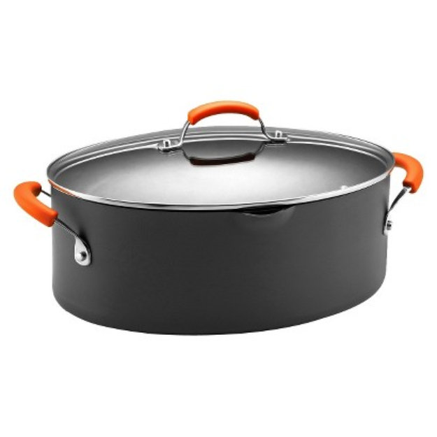 Rachael Ray Hard Anodized II Covered Pasta Pot -Orange Handle (8 Qt.)