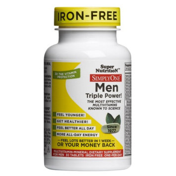 Super Nutrition Simply One Multivitamin/Mineral Supplement Tablets Iron Free