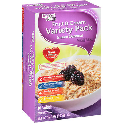 Great Value: Instant Oatmeal Fruit & Cream Variety Pack, 12.3 oz