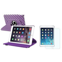 Insten iPad Air 2 Case, by INSTEN Purple/Whtie Polka Dot Swivel Stand Leather Pouch+Anti-Glare Guard for Apple iPad Air 2nd Gen