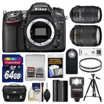 Nikon D7100 Digital SLR Camera Body with 18-140mm & 55-300mm VR Lens + 64GB Card + Case + LED Flash + Battery + Tripod Kit