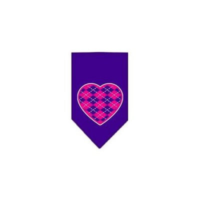 Ahi Argyle Heart Pink Screen Print Bandana Purple Large