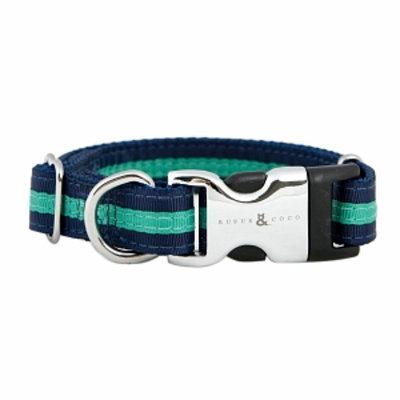 Rufus & Coco Bronte-Stylish Striped Nylon Collar, Medium-Large, Navy and Green, 1 ea