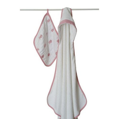 aden + anais Towel with Muslin Washcloth, Pink Fish (Previous Version) (Discontinued by Manufacturer)