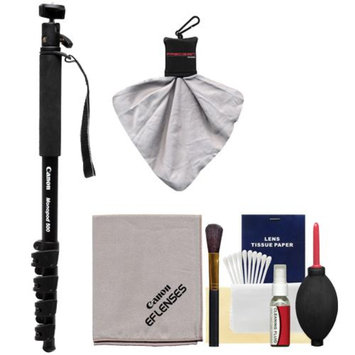 Canon 64-Inch Photo / Video Monopod 500 with Ball Head (Black) with Canon Optical Lens Cleaning Kit for Digital SLR Cameras & Camcorders