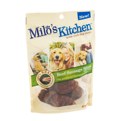 Milo's Kitchen Home-Style Dog Treats 100% Real Beef Sausage Slices With Rice