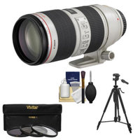 Canon EF 70-200mm f/2.8 L IS II USM Zoom Lens with 3 (UV/ND8/CPL) Filters + Tripod + Cleaning Kit for EOS 6D, 70D, 5D Mark II III, Rebel T3, T3i, T4i, T5, T5i, SL1 DSLR Cameras