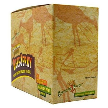Caveman Foods Beef Jerky 12-1 oz Pouches Teriyaki Snacks / Foods (for Men and Women)