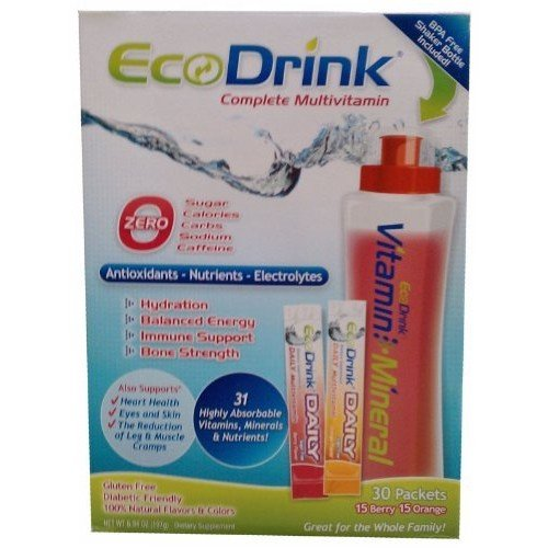 Eco Drink EcoDrink Complete Multivitamin & Minerals Drink Mix - 15 Orange + 15 Berry - 30 Packets Total Plus a Reusable, BPA-Free Shaker Bottle Included
