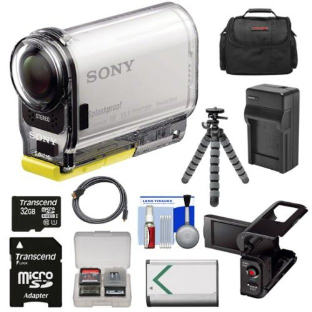 Sony Action Cam HDR-AS100V Wi-Fi GPS HD Video Camera Camcorder with 32GB Card + Battery + Charger + LCD Cradle + Case + Flex Tripod Kit
