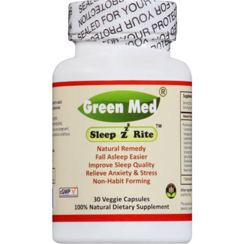 Green Med SleepzRite- 30 veggie cap, 100% natural ingredients, non-habit-forming, relieve anxiety, stress, improve sleep quality, help to stay calm and smoothing mind