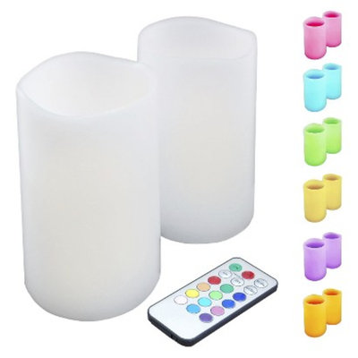 Lumabase Wax LED Flickering Candles - Multicolor (2 Count)